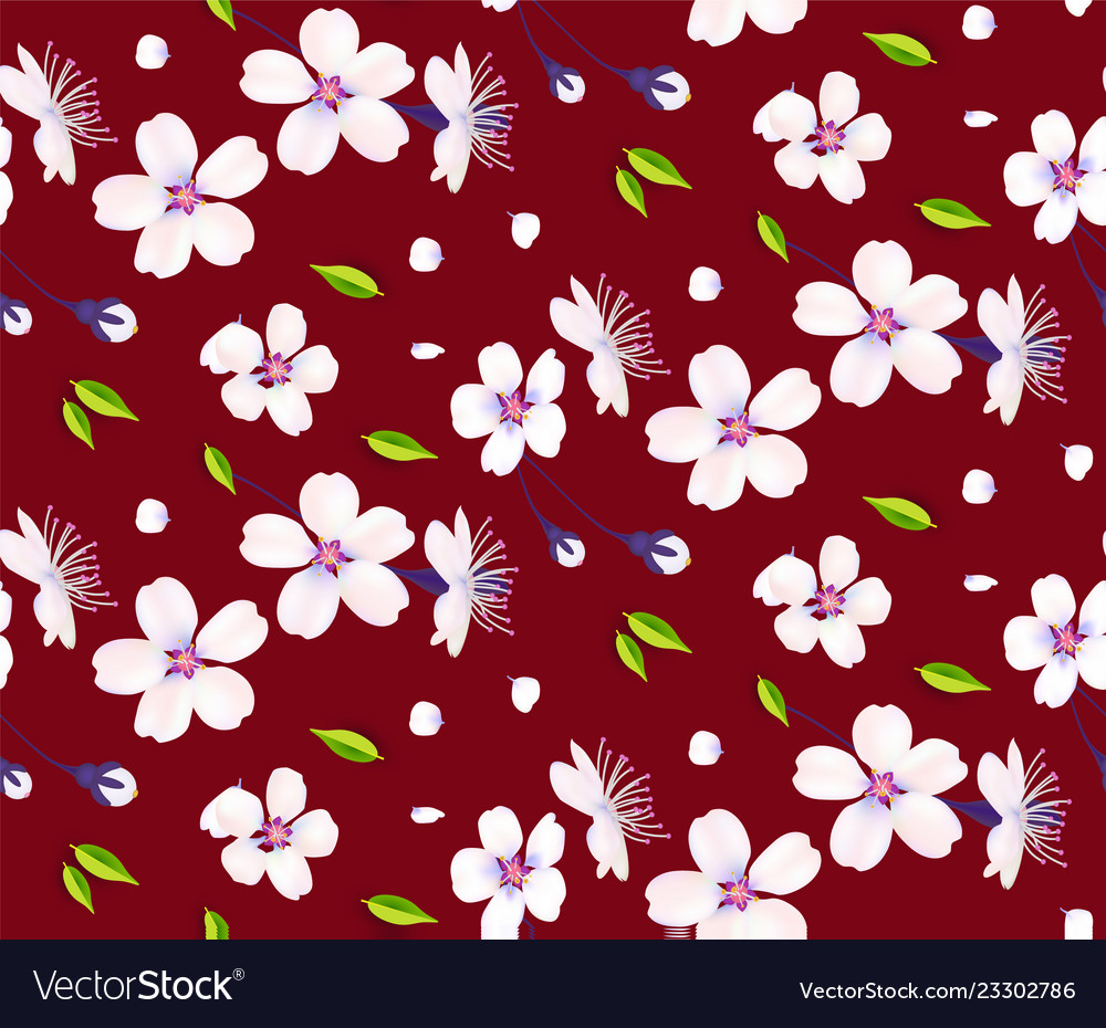 Sakura flowers cherry blossom and leaves seamless