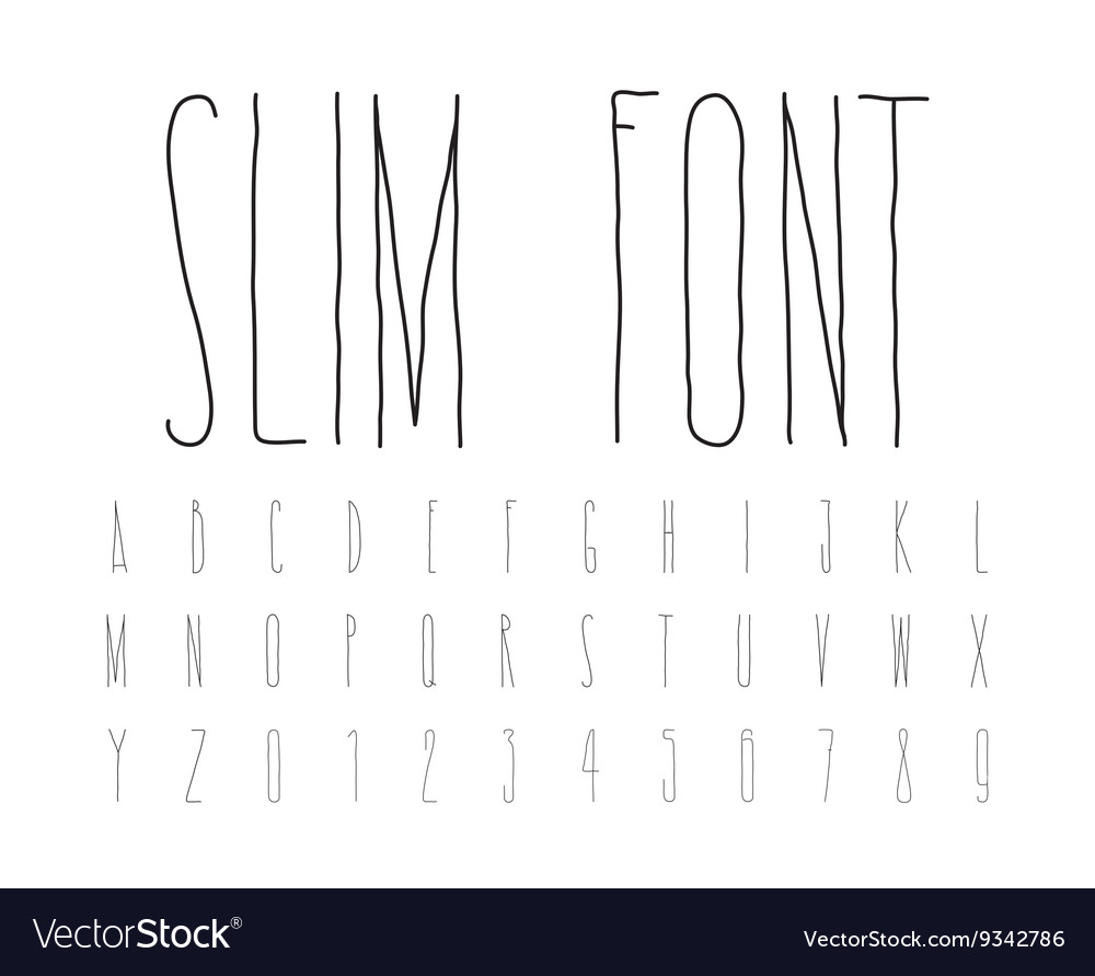 Simple decorative font handwritten slim alphabet