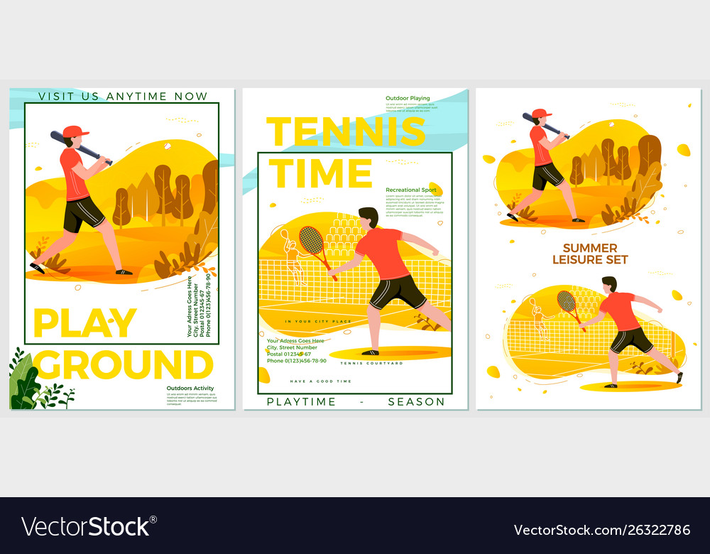 Summer sport posters set - cricket tennis