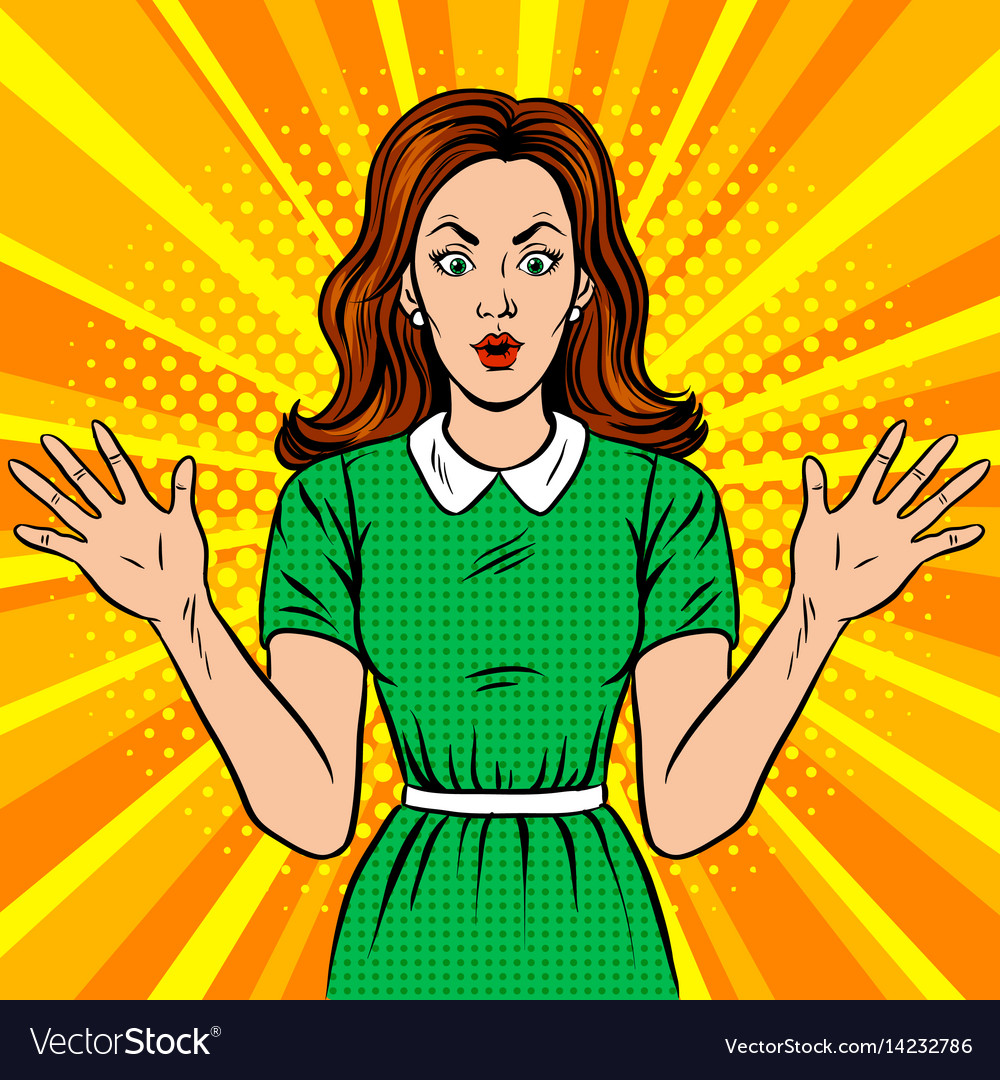 Surprised woman pop art style vector image