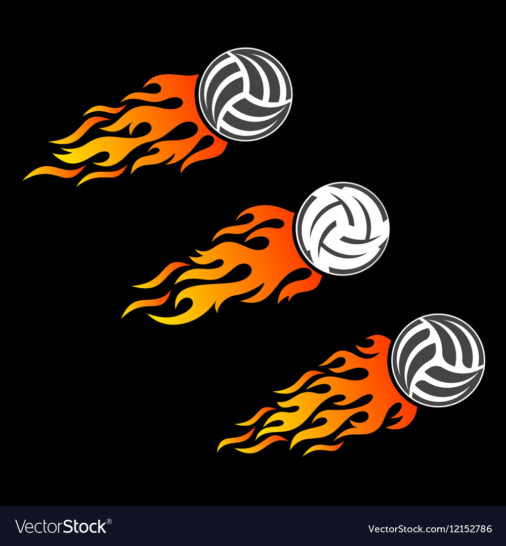 Volleyball ball flaming logo designs