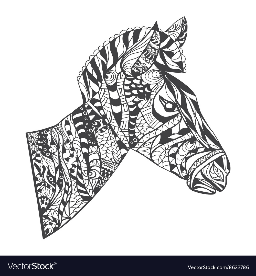Zentangle style Zebra Head