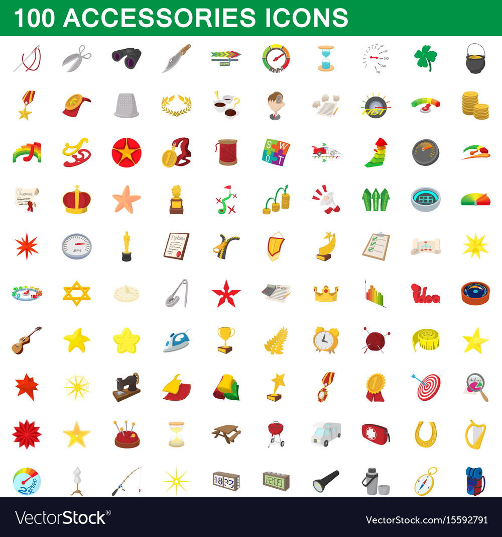 100 accessories icons set cartoon style