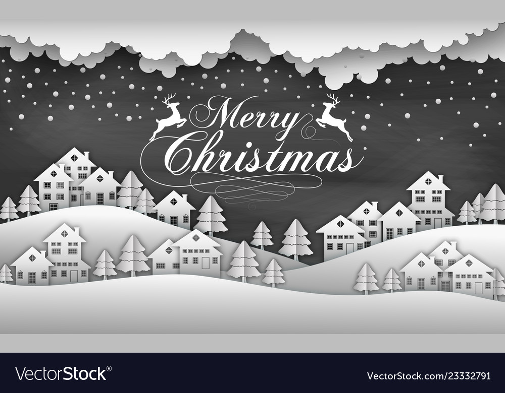 Christmas black background with snow and house