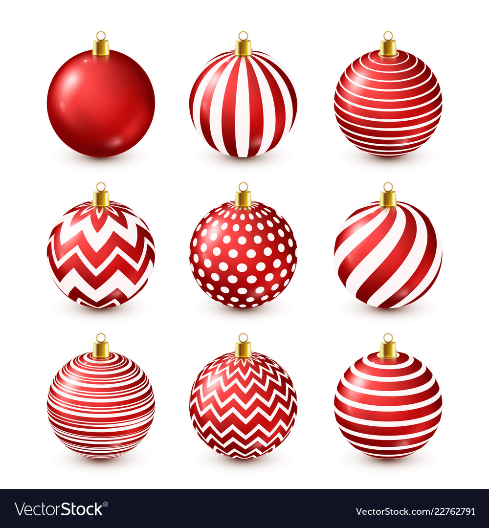 Christmas tree shiny red balls set new year vector
