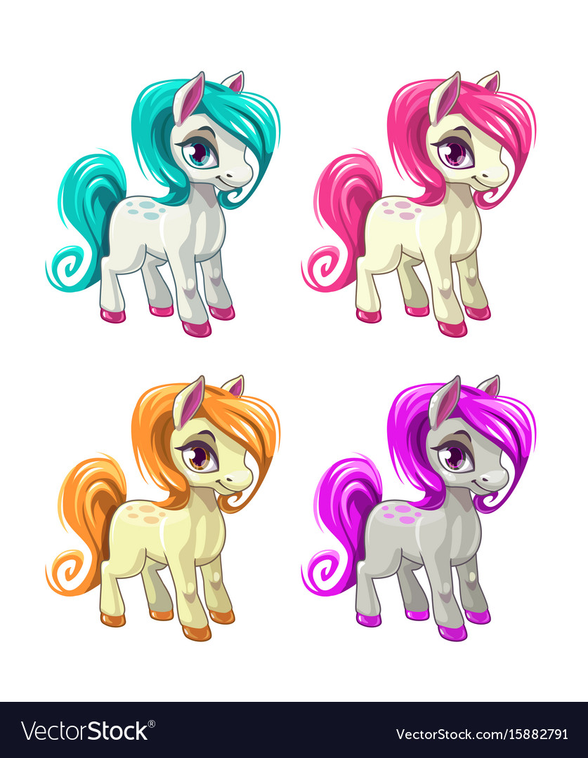 Cute cartoon little horses vector image