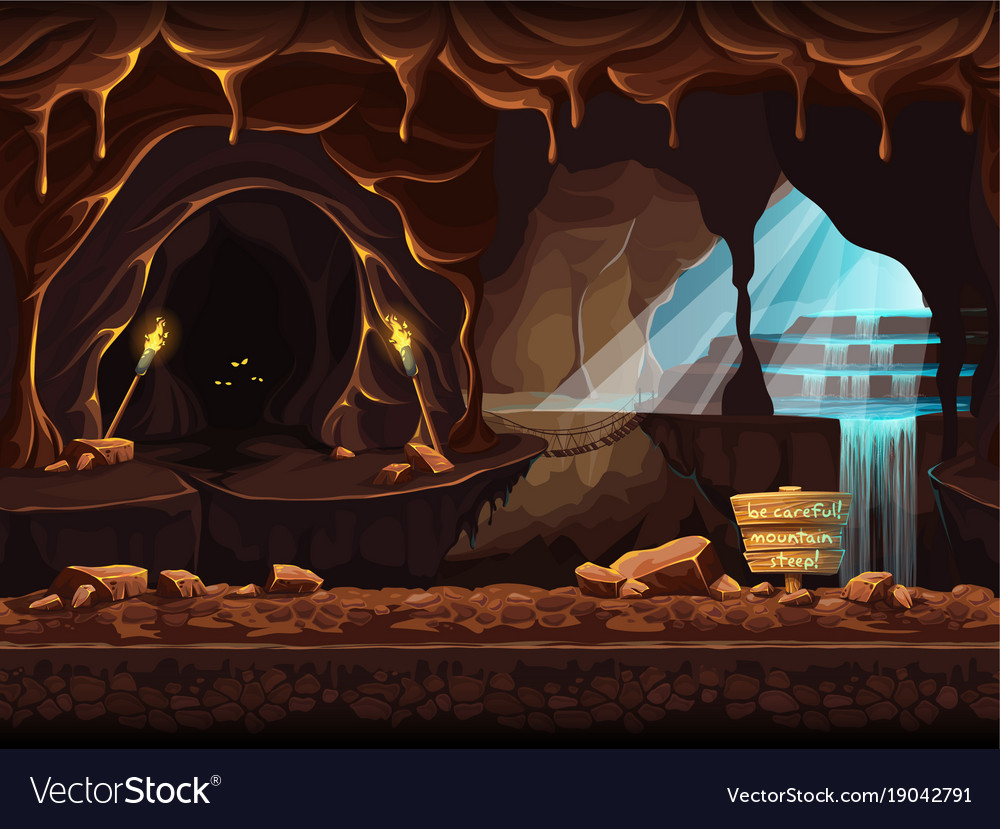 Fantasy cave with a sign and stones