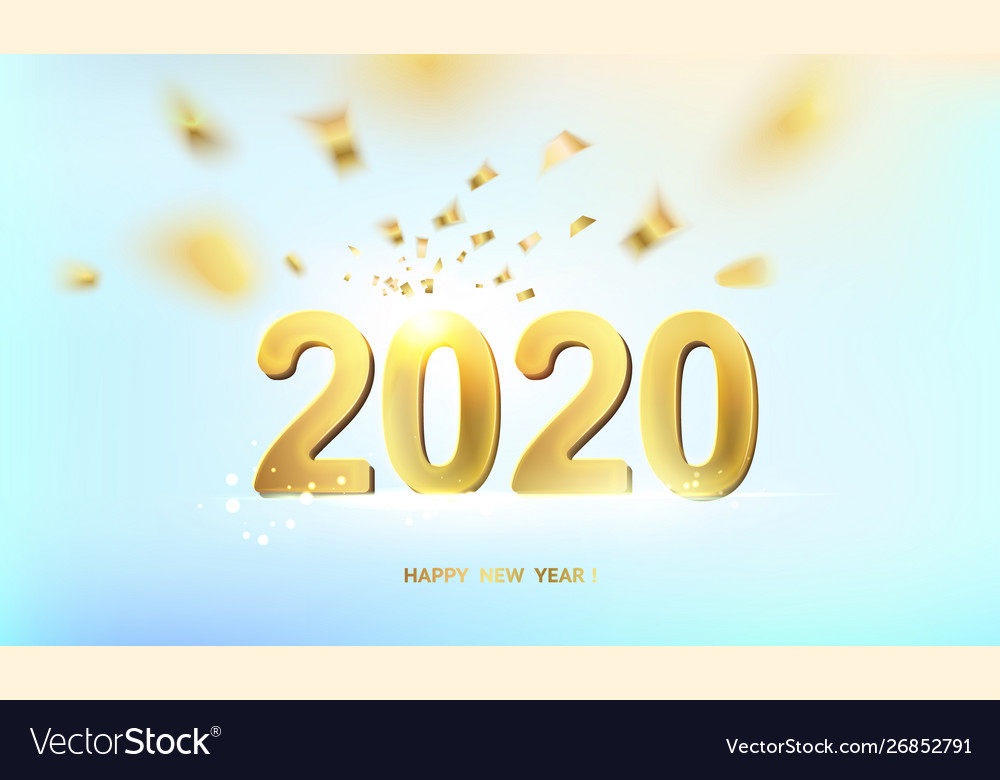 Happy new year card over blue background with