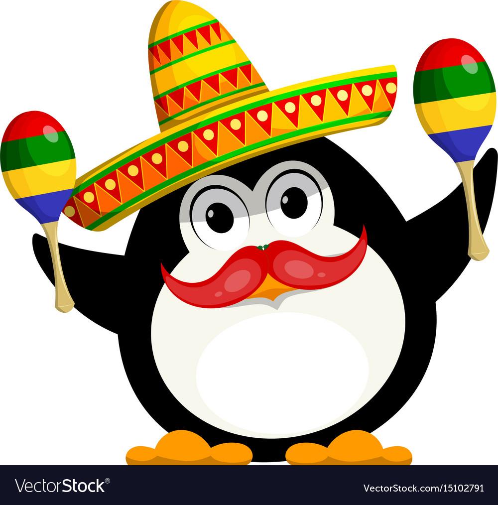 Penguin with a maracas and a sombrero cartoon vector image