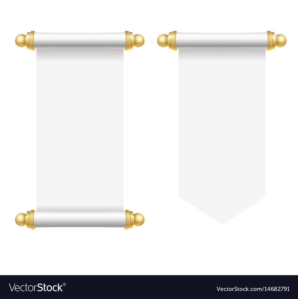 realistic template blank white paper scroll set vector image