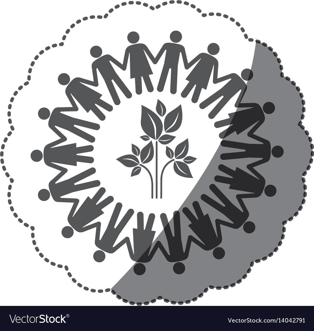 Sticker monochrome silhouette teamwork human