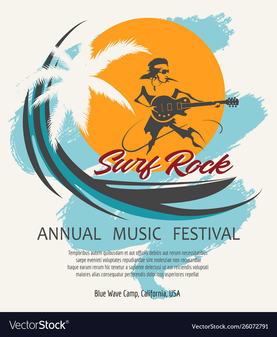 Summer rock music festival poster in retro style