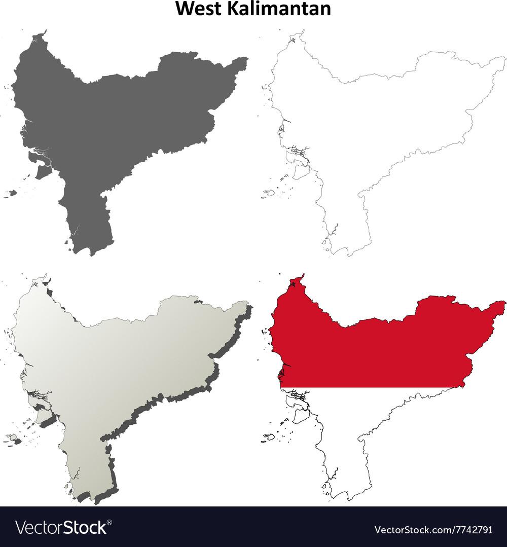 west kalimantan blank outline map set royalty free vector vectorstock