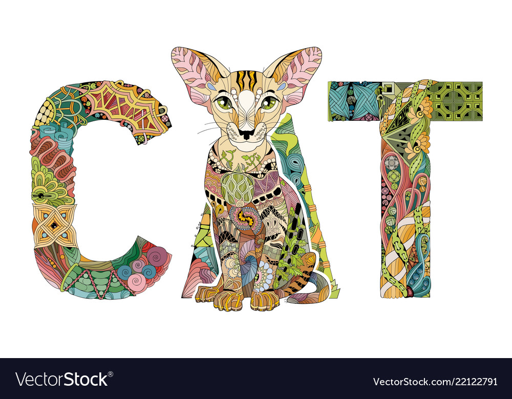 Word Cat With A Drawing Of A Cat Royalty Free Vector Image
