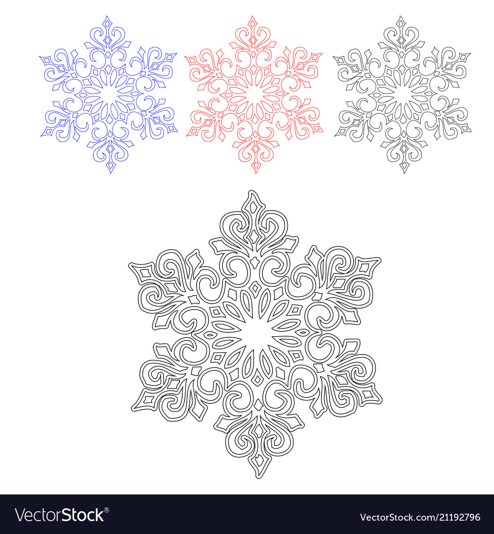 A set of contours of the fantasy of snowflakes