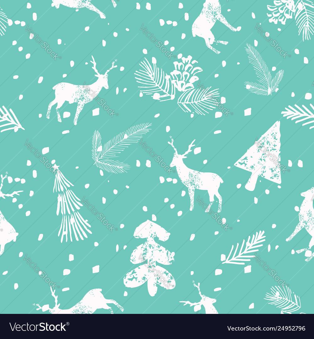 Christmas deer spruce seamless pattern blue