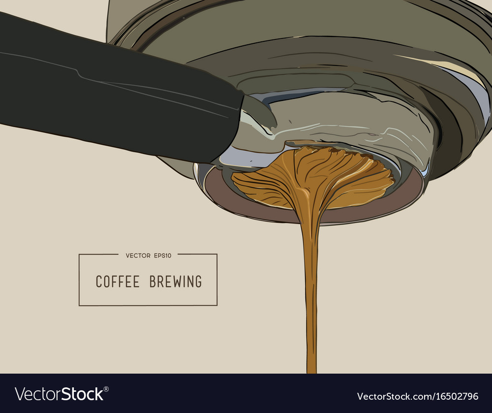 Close-up of espresso pouring from coffee machine vector image