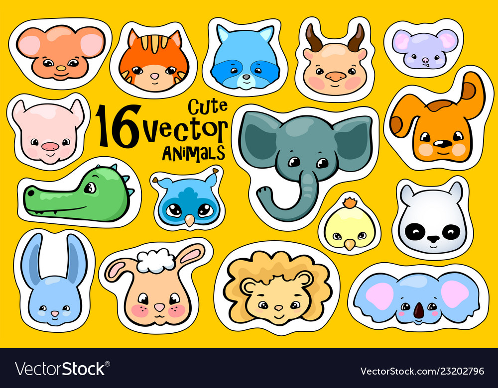Colorful animal face stickers cute animal clipart