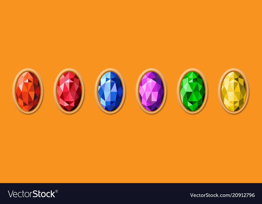 Colorful gemstones on gold background different