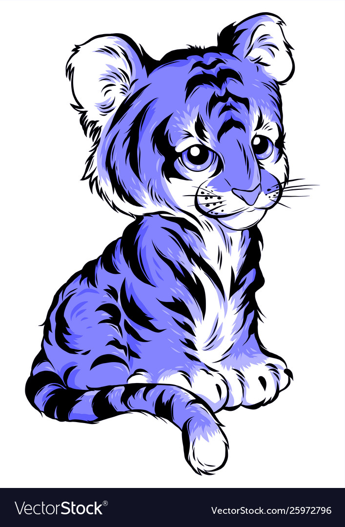 Cute cartoon tiger isolated on