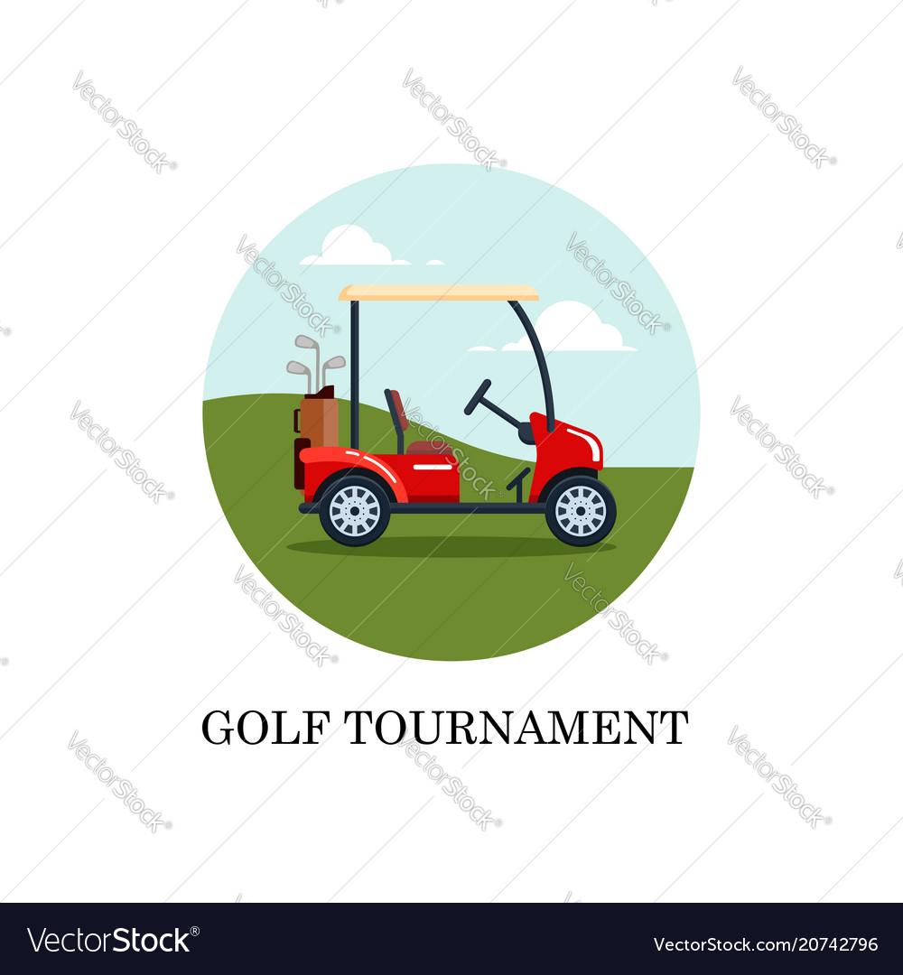 Electric golf car with golf club bag on a
