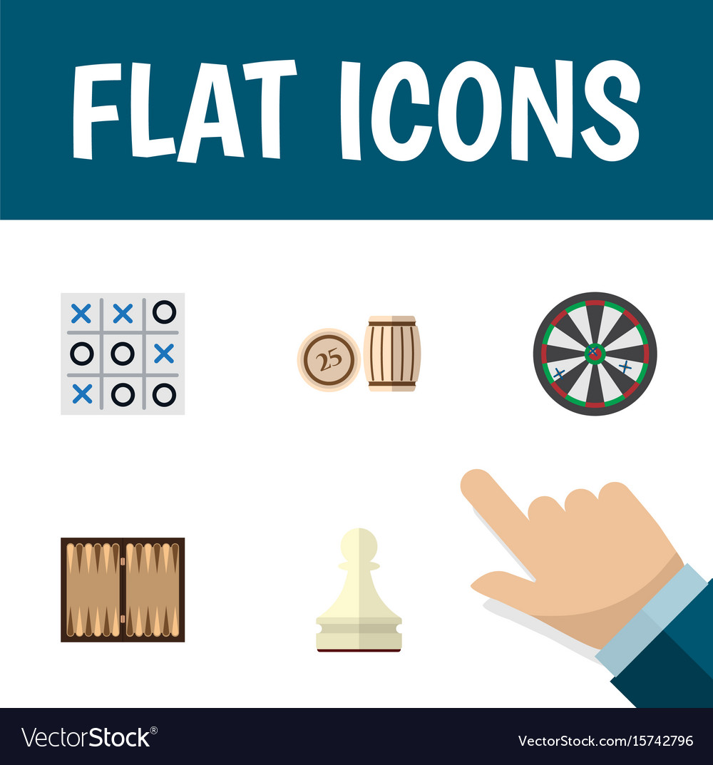 Flat icon games set of dice pawn arrow and other
