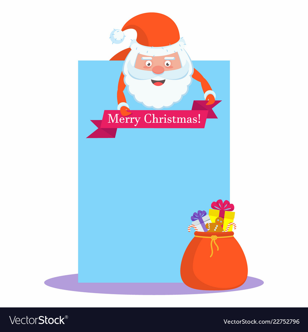 Funny happy santa claus character with blank sheet