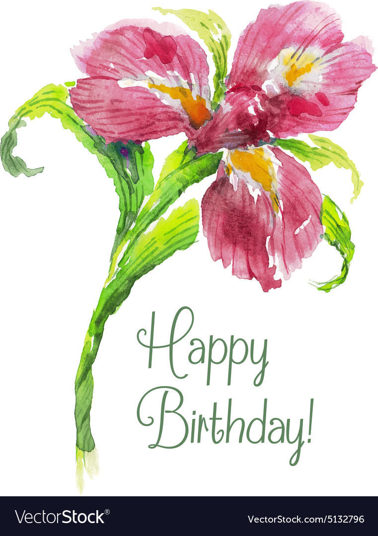 Greeting Card Happy Birthday With Red Watercolor Vector Image On Vectorstock