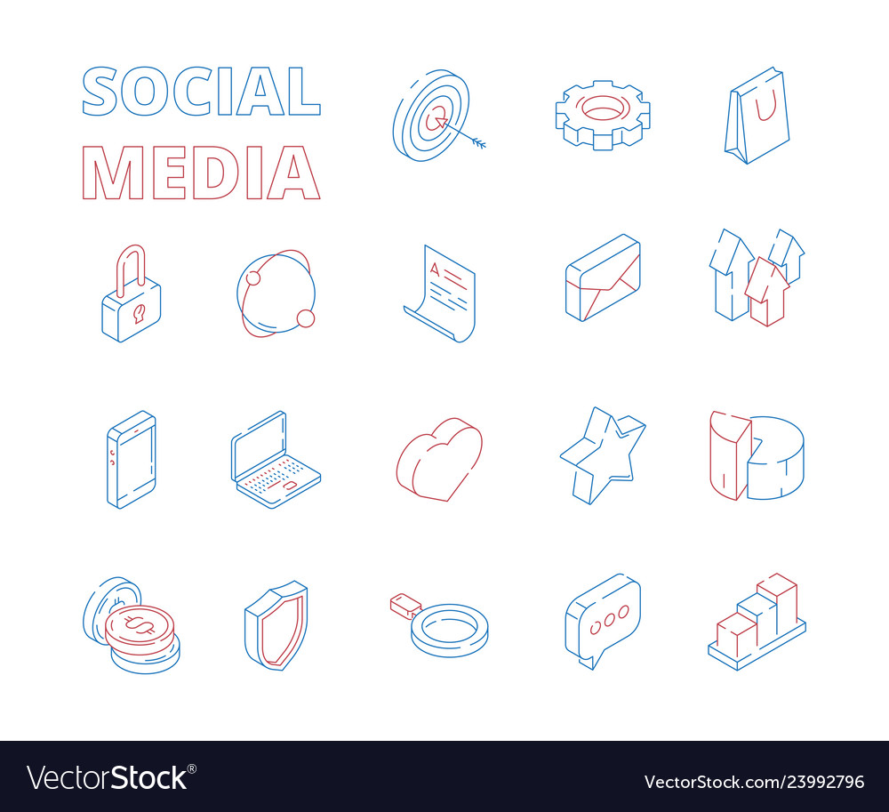 Marketing isometric icon web social media network