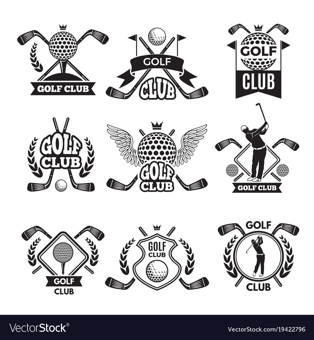 Monochrome labels for golf club for