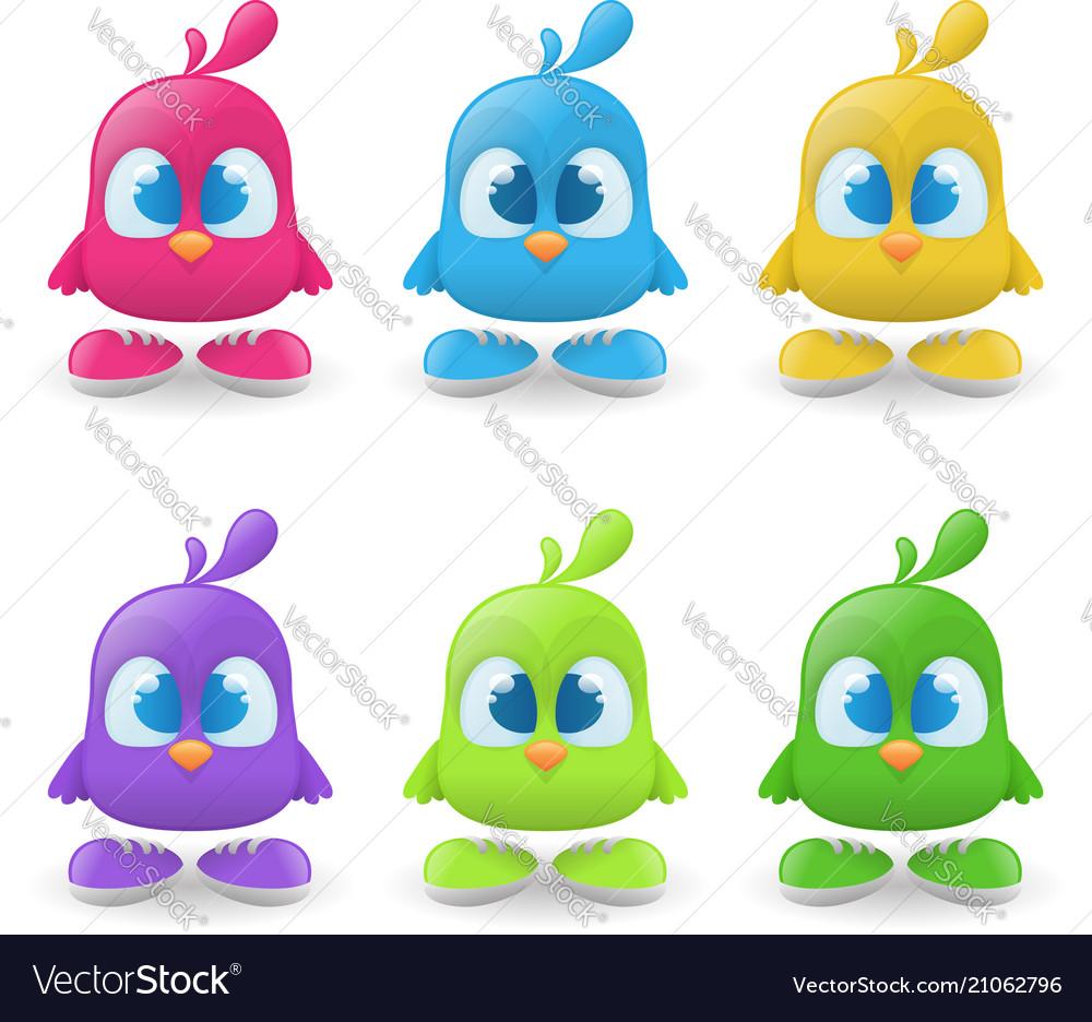 Set funny bird characters