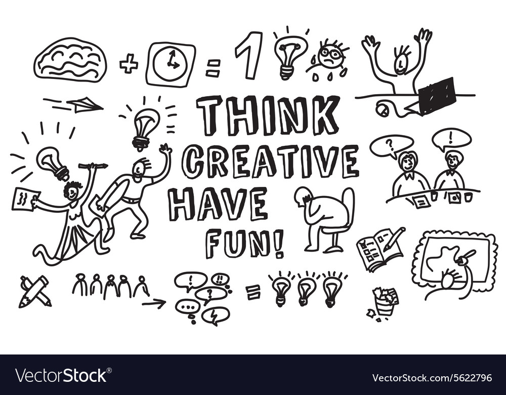 Think creative fun doodles people black and white