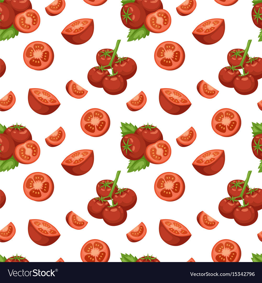 Vegetable organic food sliced red tomato and bunch vector image