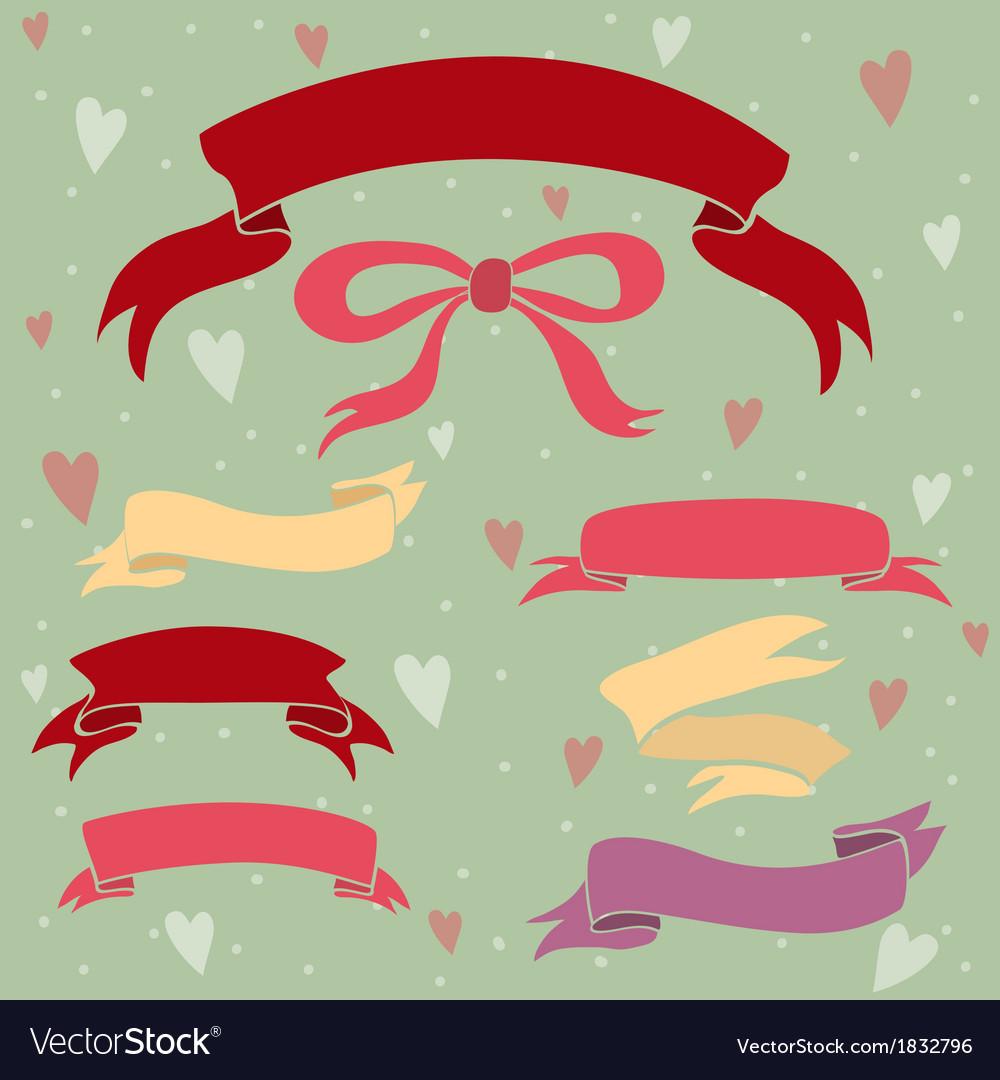 Wedding ribbons set hearts and bow
