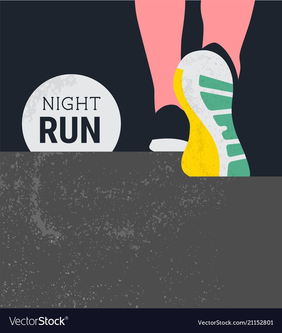 Athlete runner feet running or walking on road