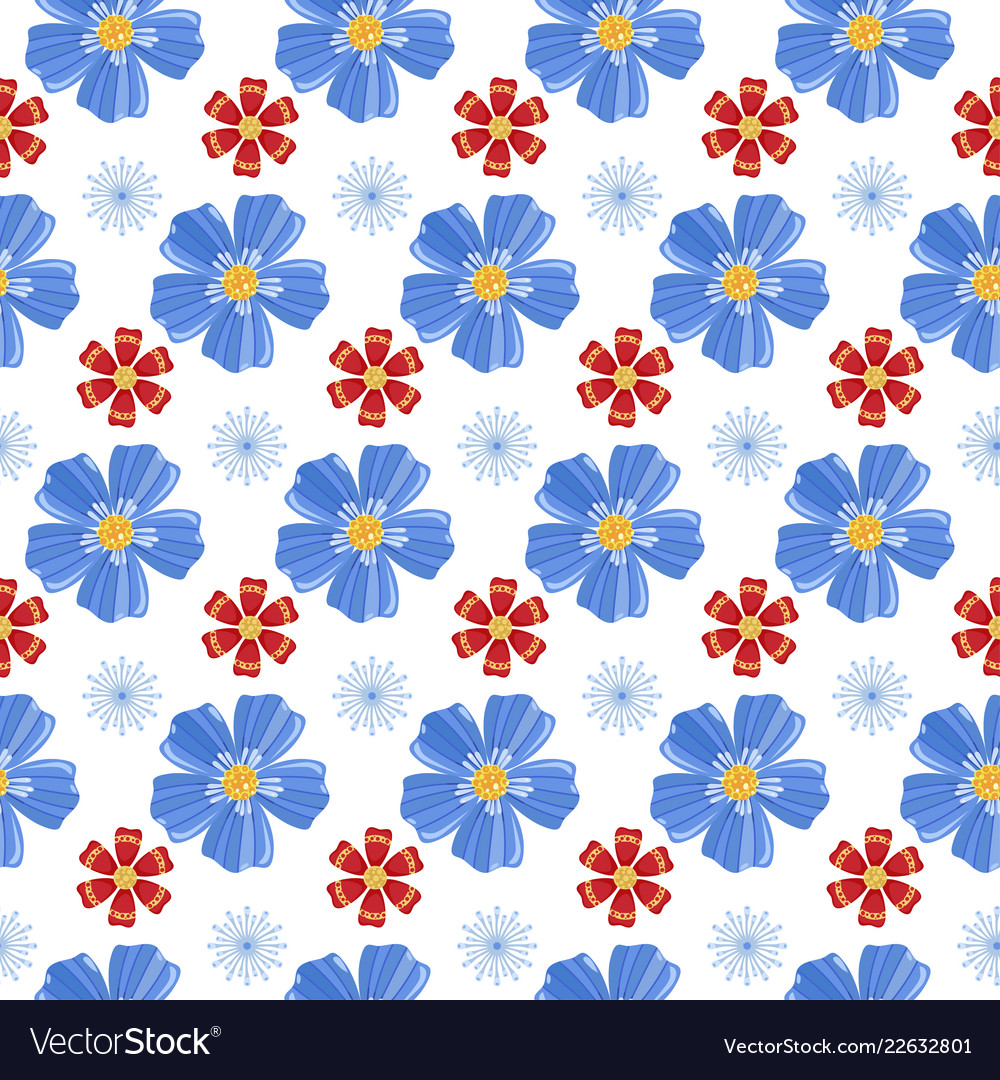 Blue and red flowers seamless pattern