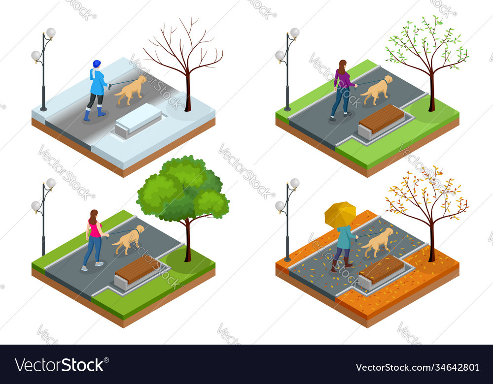 Isometric girl in casual clothes walking in park