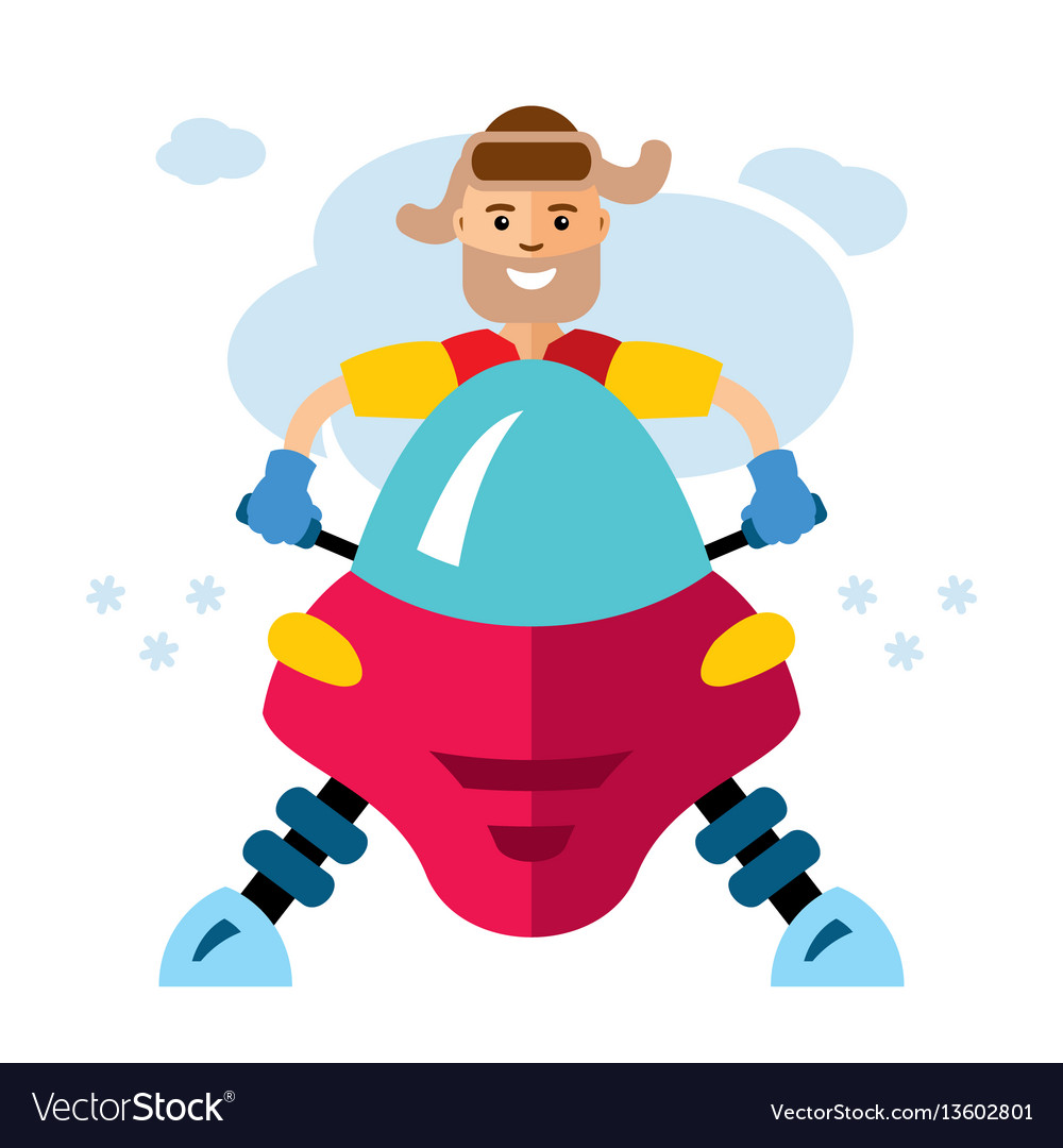 Man on snowmobile flat style colorful vector image