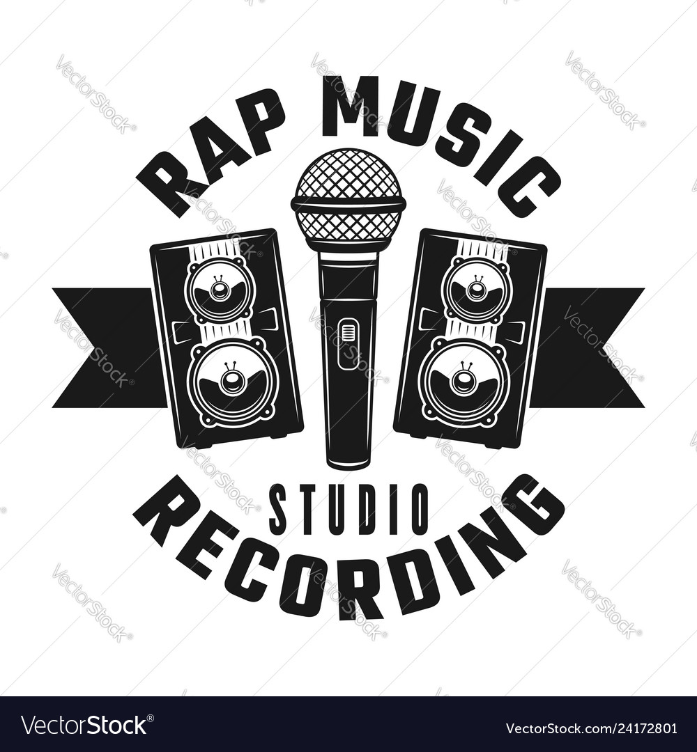 Microphone and speakers rap music emblem