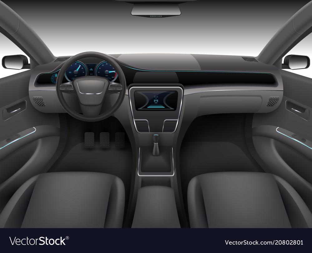 Car Interior With Rudder Dashboard