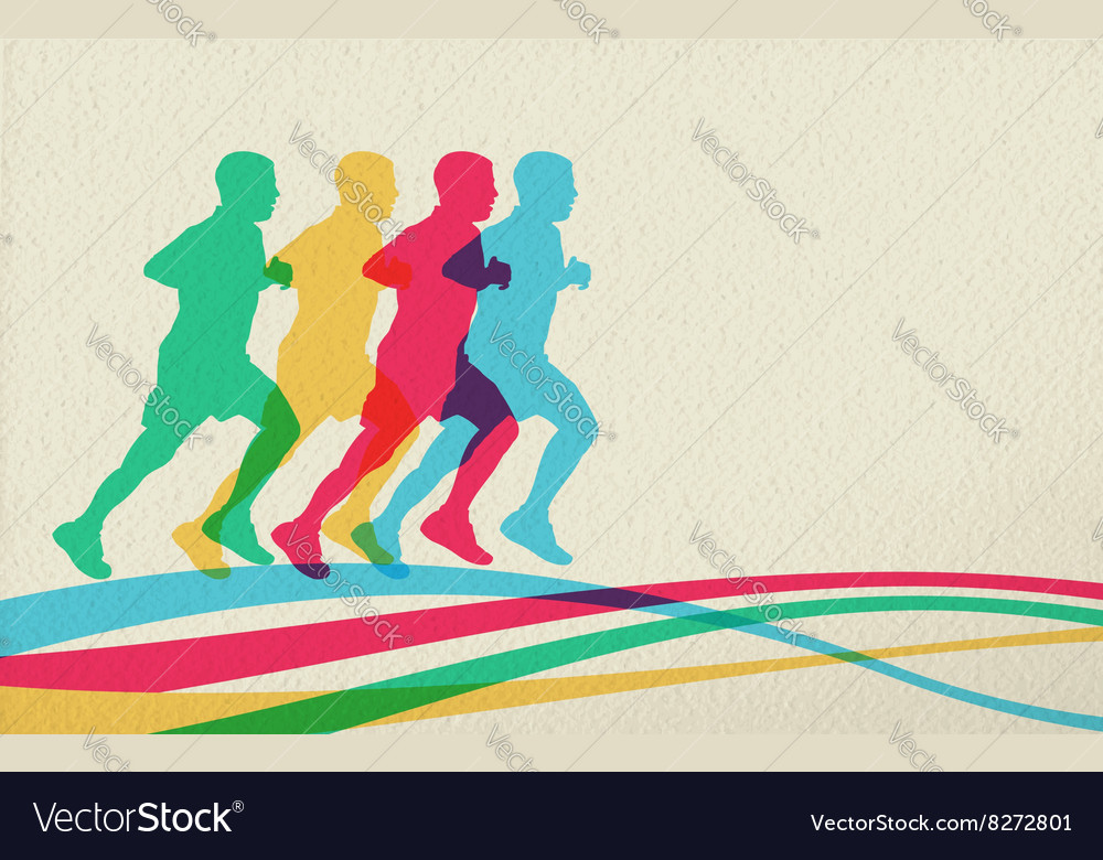 Running people silhouette concept background
