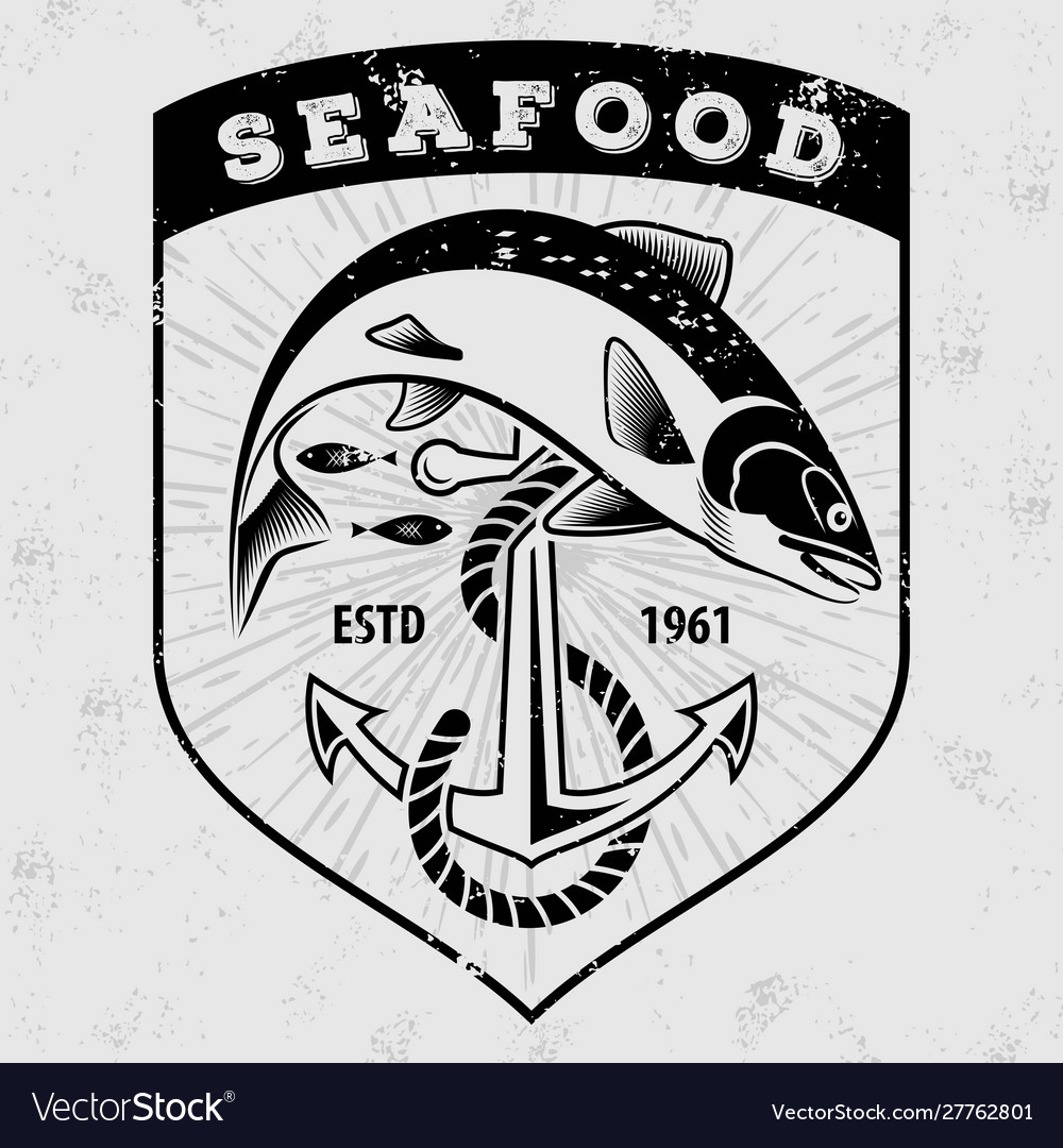 Seafood Restaurant Poster With Salmon Fish Vector Image