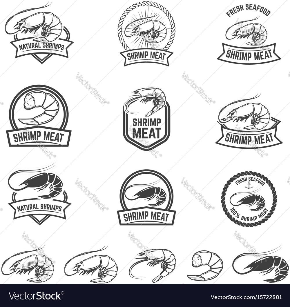 Set of shrimp meat emblems fresh seafood design