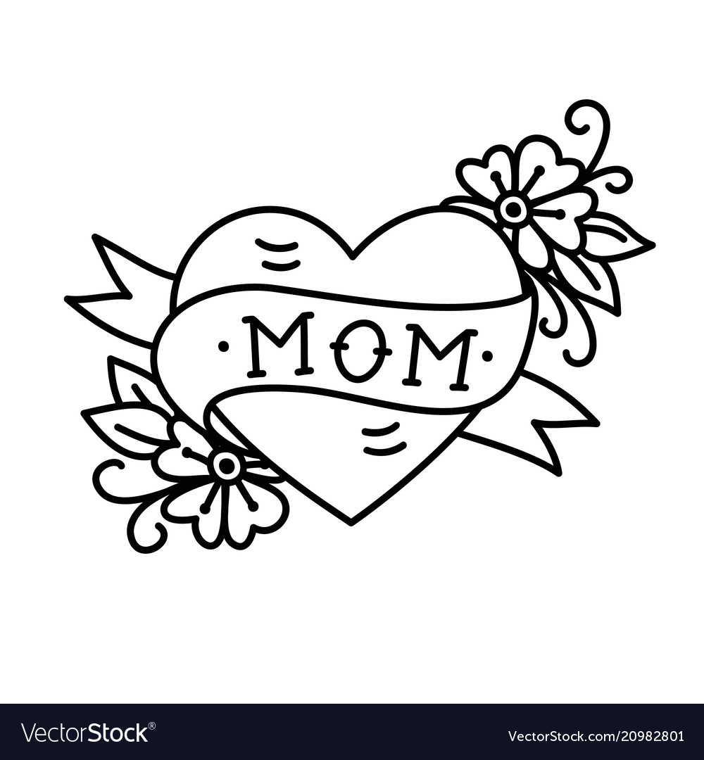 Tattoo with mom inscription in heart shape