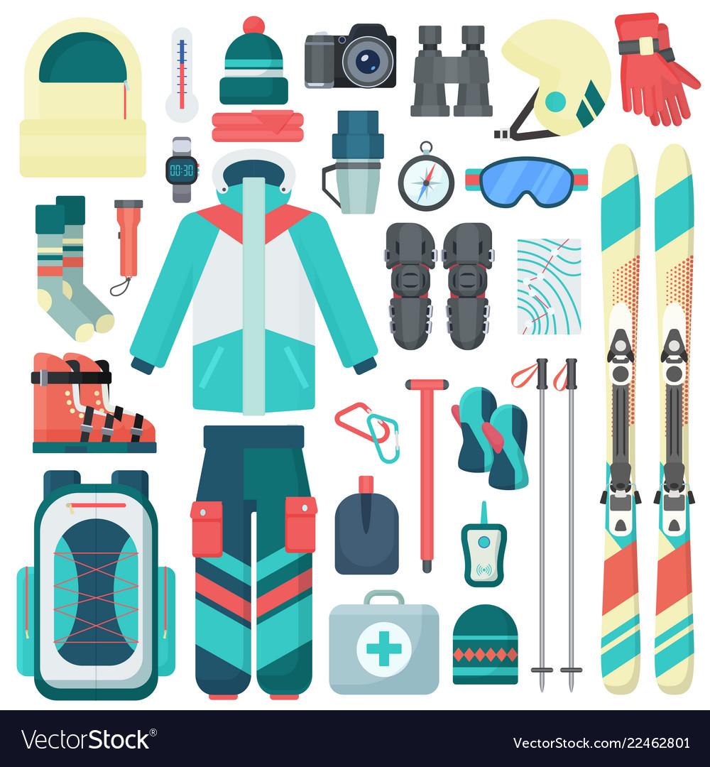 Winter skiing equipment icons set travel