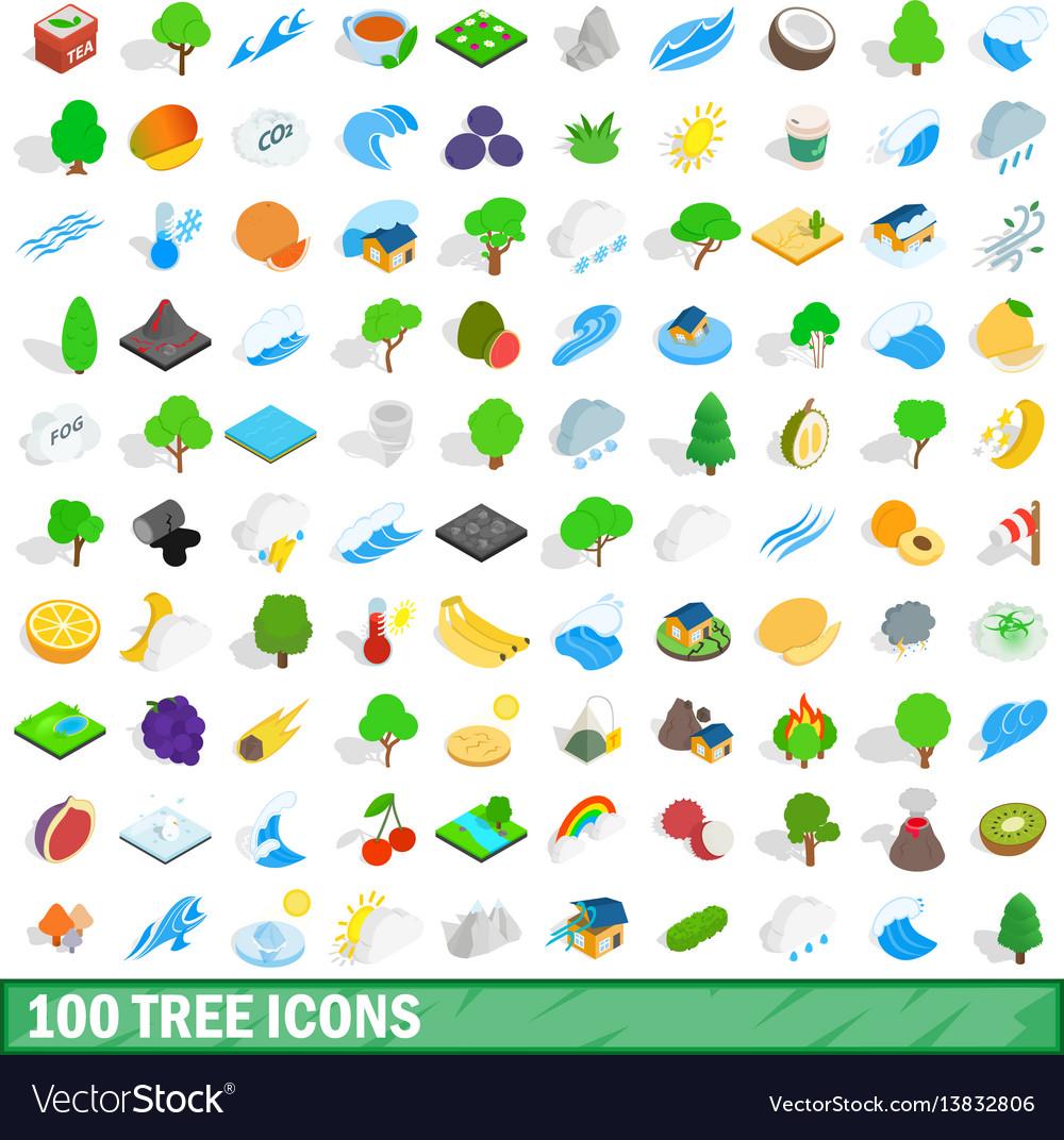 100 tree icons set isometric 3d style