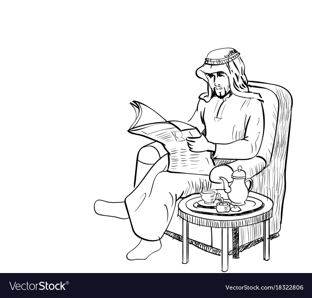 Arab man read news paper on sofa - line drawn