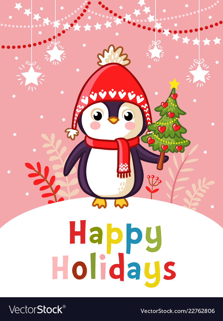 Christmas greeting card with cute penguin