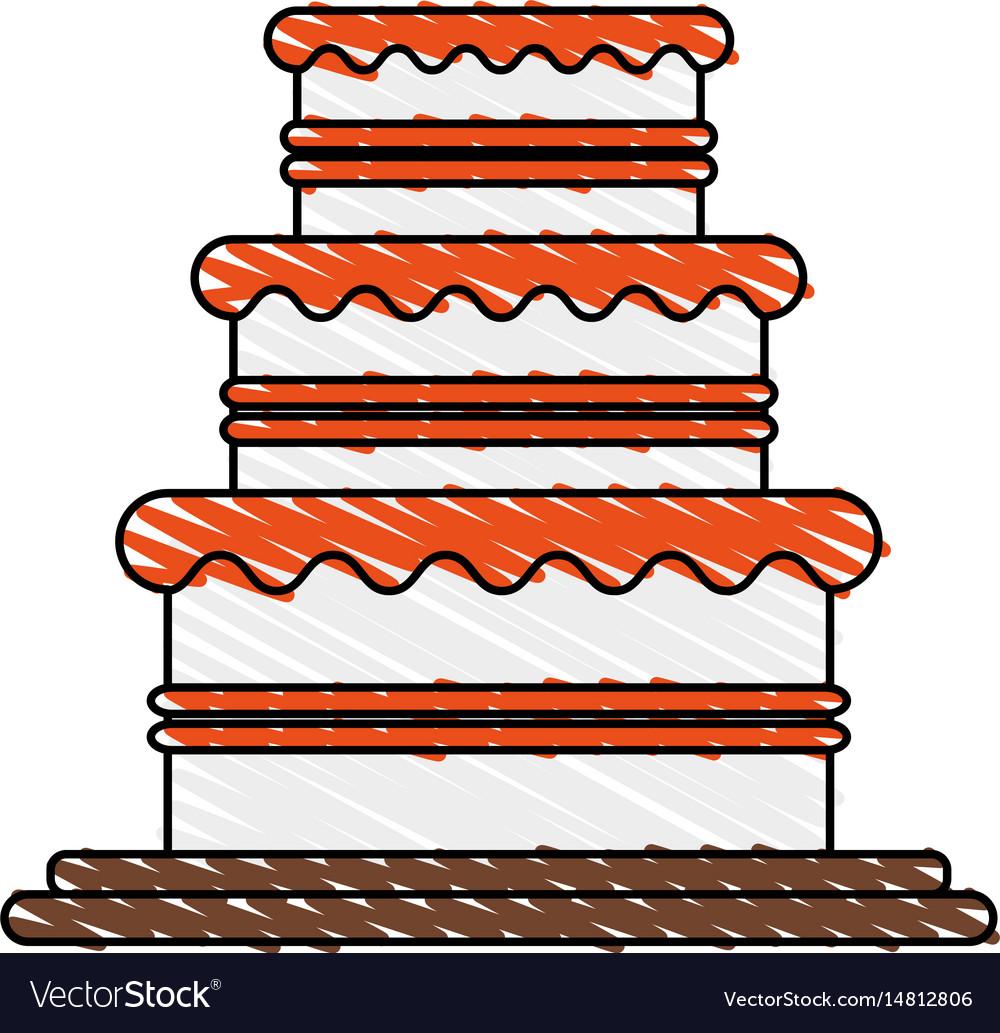 Color crayon stripe image wedding cake with cream