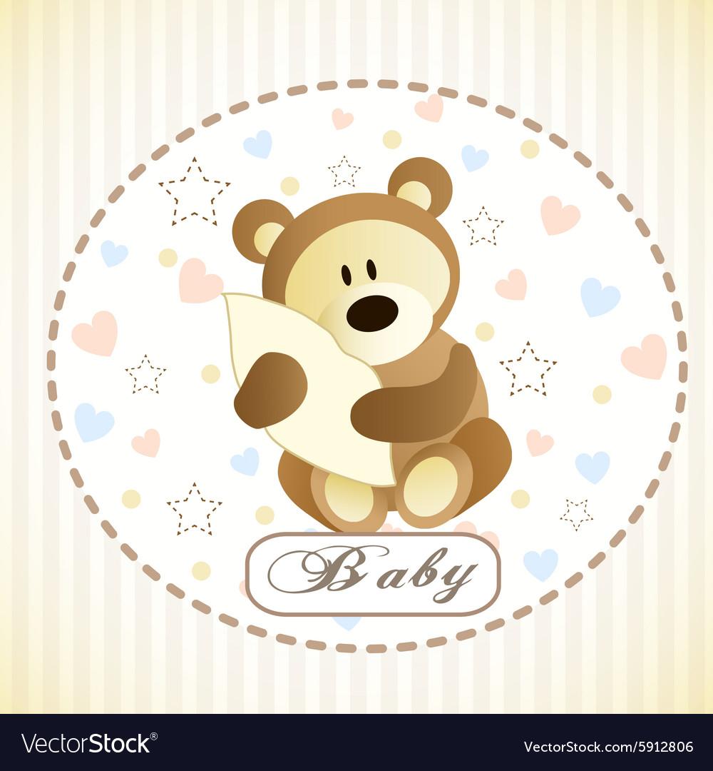 Cute brown bear hiding by blanket vector image